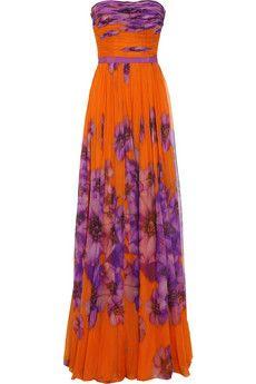 Giambattista Valli Floral Print Silk Chiffon Gown