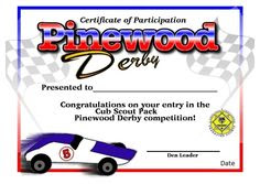Pinewood Derby Certificate - free download + lanyards   Boy Scouts ...