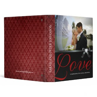 Classy Red and Black Wedding Photo Album Vinyl Binders