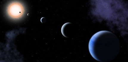 An artist's impression of the five-planet system HD 108236. Image credit: Sci-News.com.