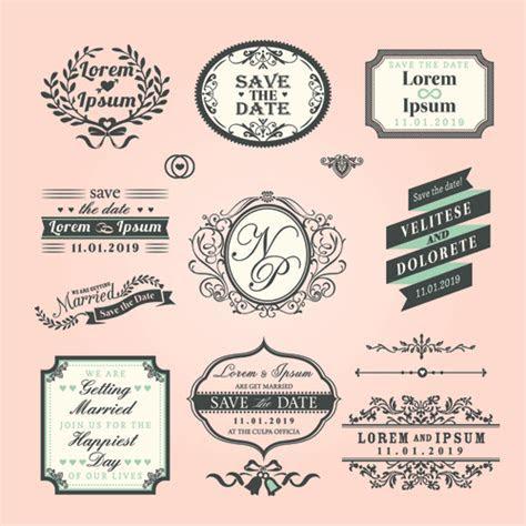 Romantic wedding labels design vector free download