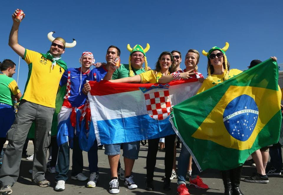 Brazil and Croatia fans together before the opening ceremony of the 2014 FIFA World Cup Brazil before the Group A match between Brazil and Croatia at Arena de Sao Paulo on June 12 in Sao Paulo, Brazil.