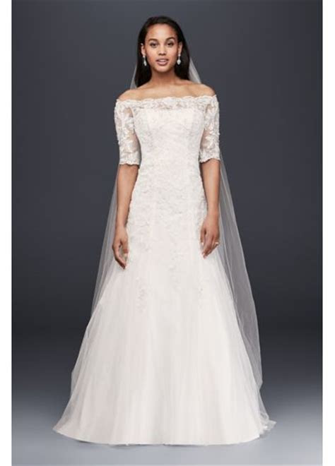 Jewel Off the Shoulder 3/4 Sleeve Wedding Dress   Davids