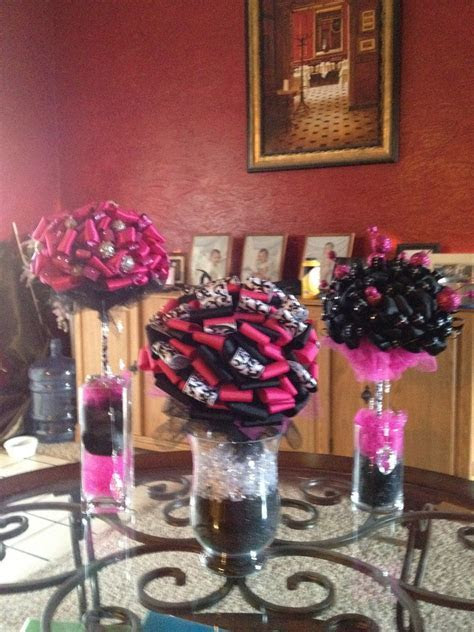 Pink Black And White Wedding Centerpieces   Hot pink and