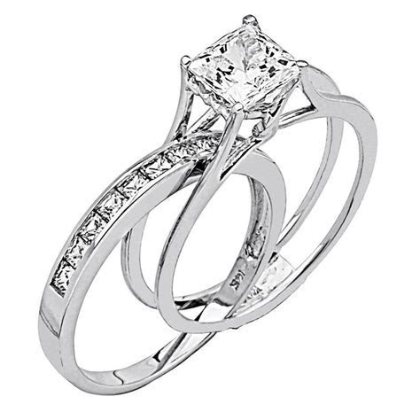 2 Ct Princess Cut 2 Piece Engagement Wedding Ring Band Set