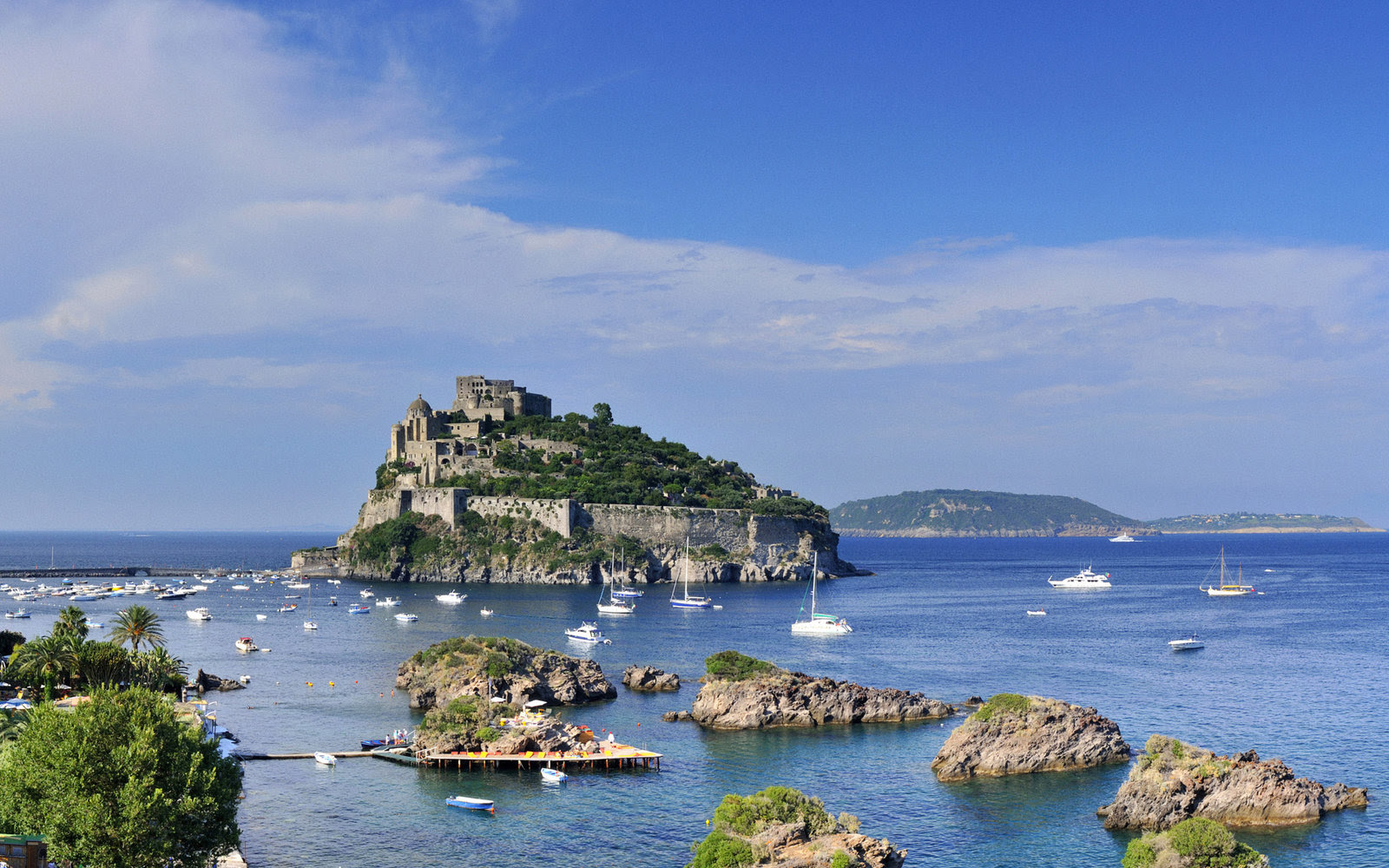 Aragonese castle in small fishing village Ischia Ponte, Ischia Island (thermal baths island), Napoli province, Mediterranean sea, Tyrrhenian sea, Campania, Italy