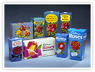 Some of the Roses cartons that have appeared since launch.