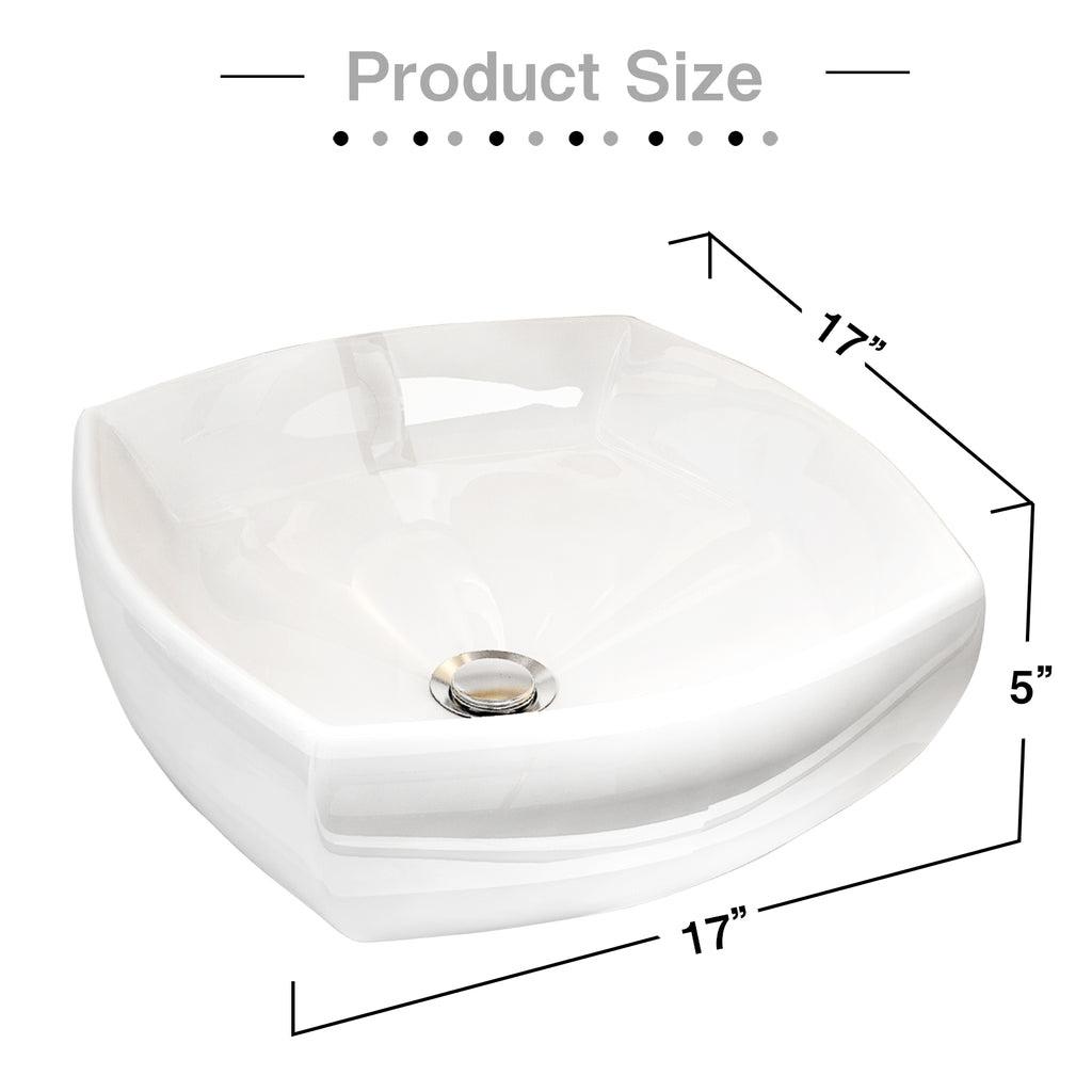 Mecor White Vessel Sink 17 X 17inch Square Bathroom Sink White Porce Mecor Furniture