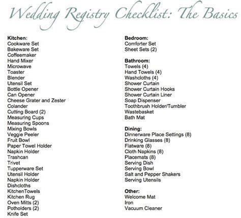 25  best ideas about Wedding registry checklist on