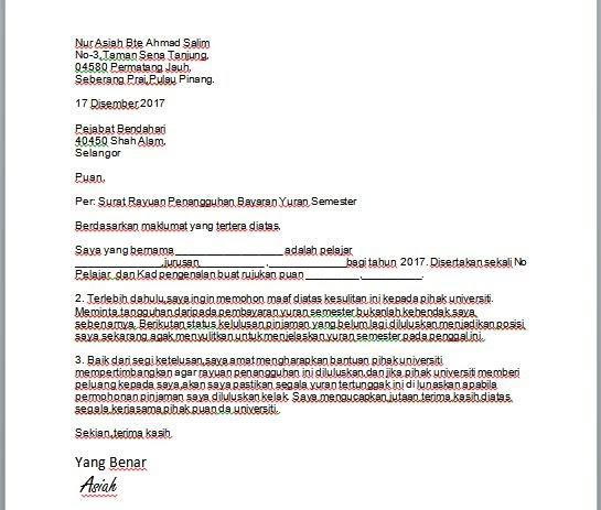Contoh Surat Rayuan Penangguhan Bayaran Pinjaman Bank Kuora 0