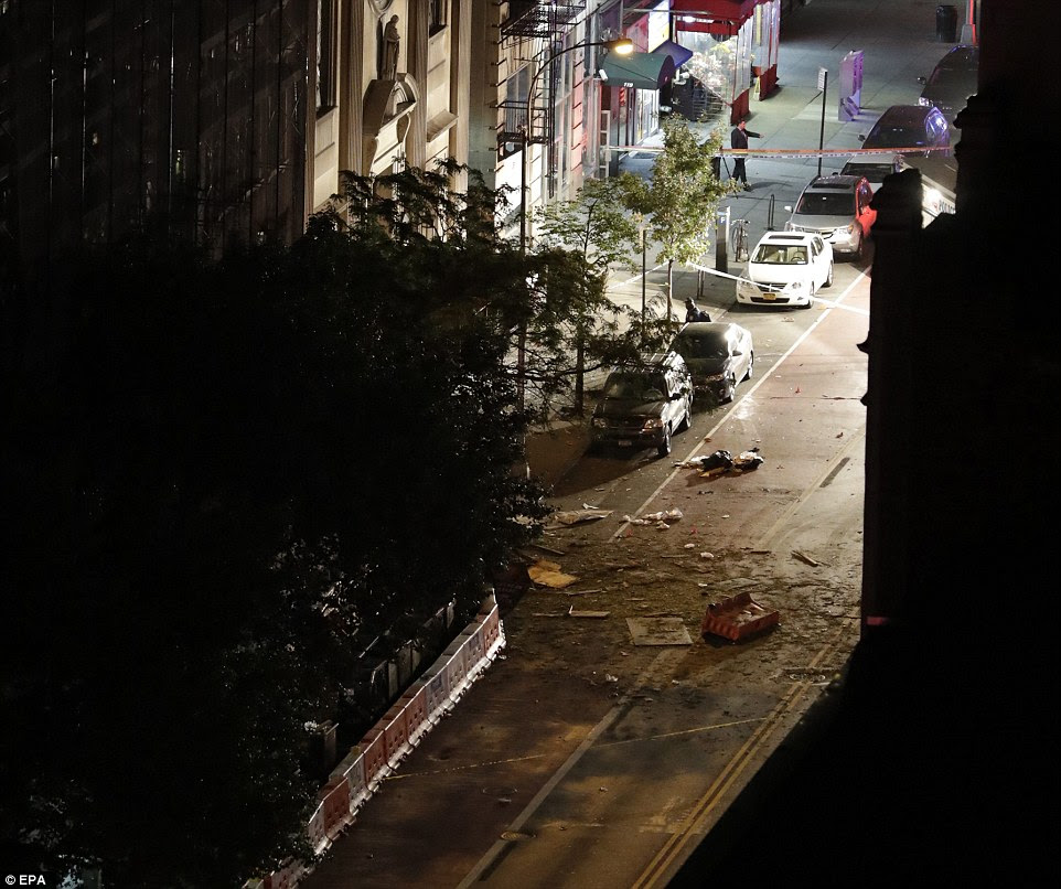 Debris is seen in the street in front of St Vincent de Paul church where the explosion occurred.The FBI and NYPD Counterterrorism Unit are investigating but there is no confirmation on what caused the blast yet
