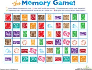 Printable Memory Game   Worksheet   Education.com
