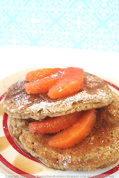 Coffee hotcakes with Rosy Red Oranges and maple syrup