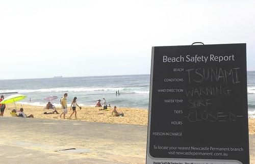 tsunami warning: beach closed