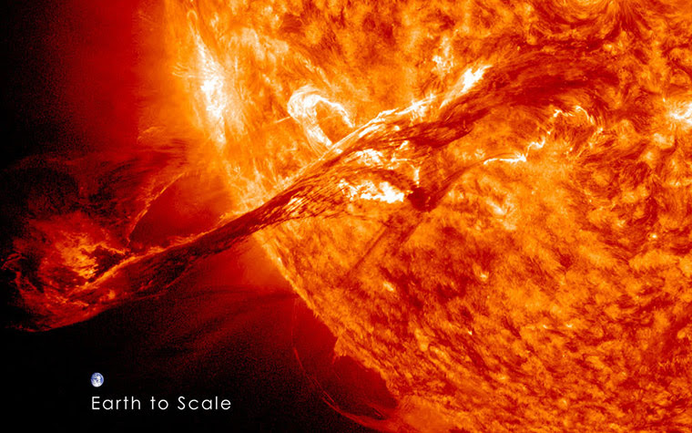 A month in Space: Magnificent CME Erupts on the Sun with Earth to Scale