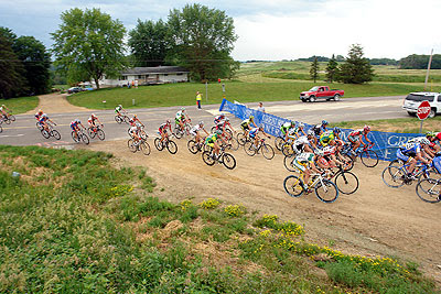 The men transition to the gravel into Cannon Falls