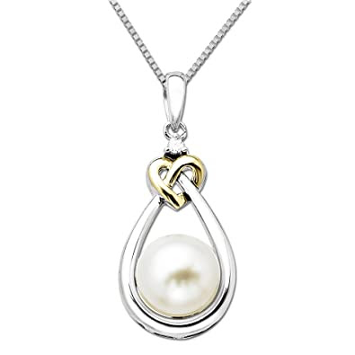 Pearl and Diamond Heart Knot Pendant