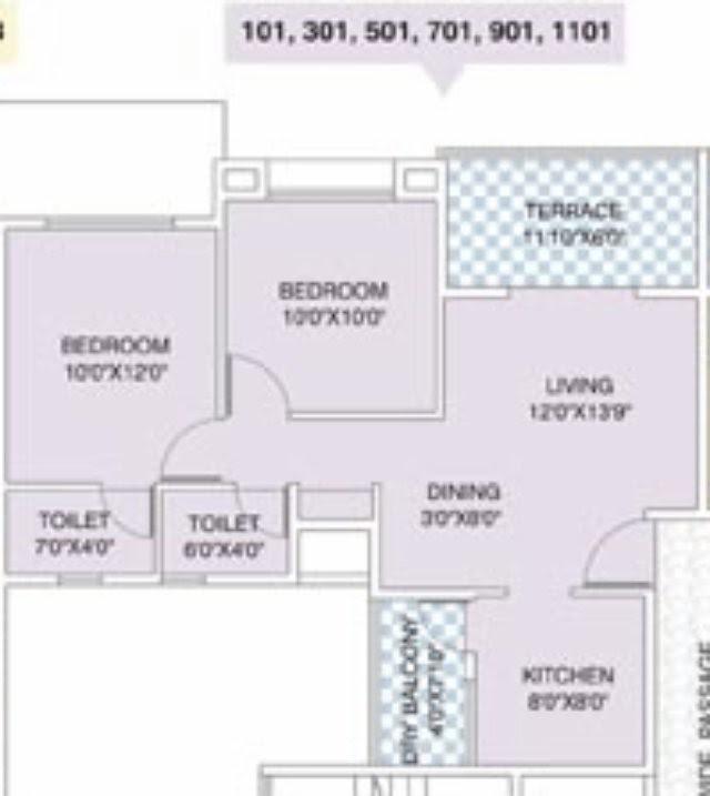 Nirman Viva 901 E 2 BHK Flat Back 586 Carpet + Terrace for Rs. 37,99,950 + 5,000 Misc + ST + VAT