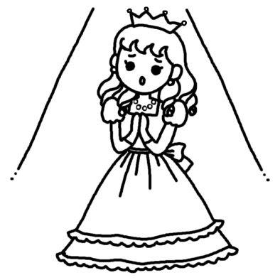 劇お姫様文化祭発表会作品展大きな行事学校無料白黒イラスト