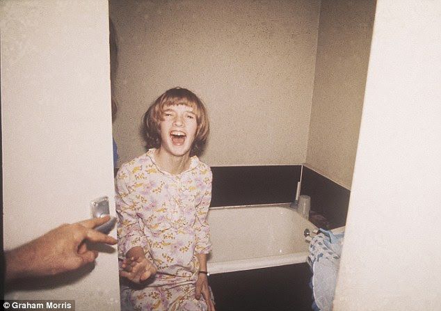 The malevolent presence seemed to particularly focus on Janet, pictured here in the bathroom