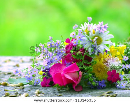 Bright Colorful Bouquet Of Garden And Wild Natural Flowers Stock ...