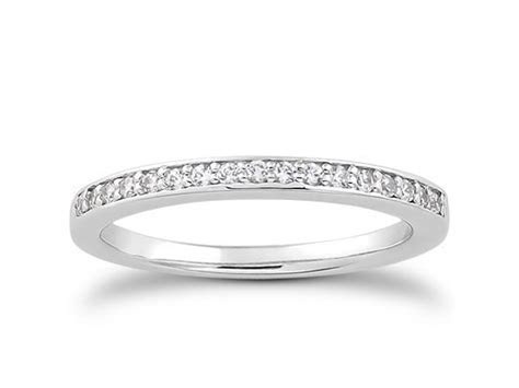 Micro pave Diamond Wedding Ring Band in 14k White Gold