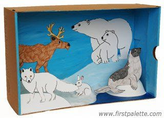 Polar Habitat Diorama craft (also different habitat dioramas as well) firstpalette