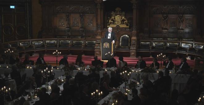 El presidente de la Comisión Europea, Jean-Claude Juncker, en un discurso durante una recepción en el Ayuntamiento de Hamburgo (norte de Alemania). REUTERS/Fabian Bimmer