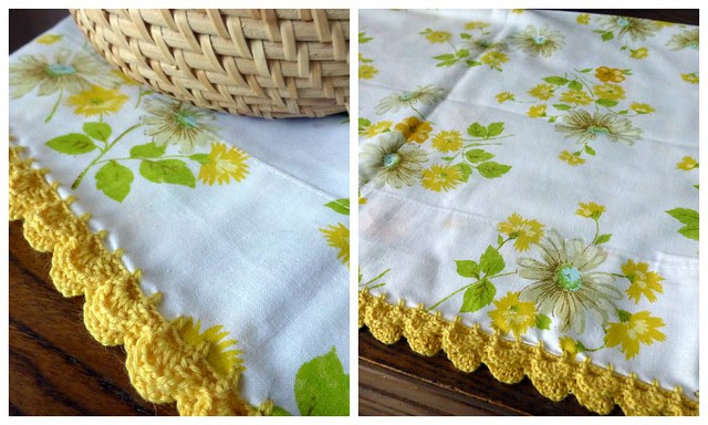 Crochet edged vintage pillowcase