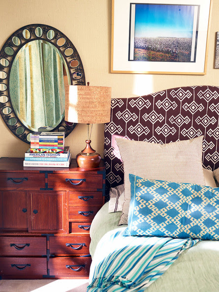 Bedroom - A mix of geometric prints in a master bedroom