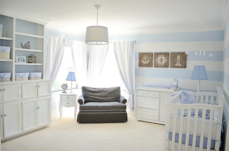 Lovely Powder Blue And White Nautical Baby Boys Nursery Design