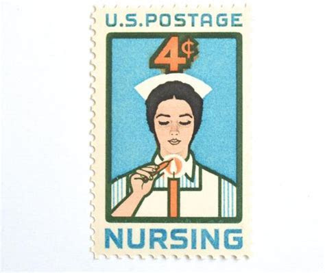 Qty: 10 Nurse Postage Stamps // Vintage Nursing Stamp Set of