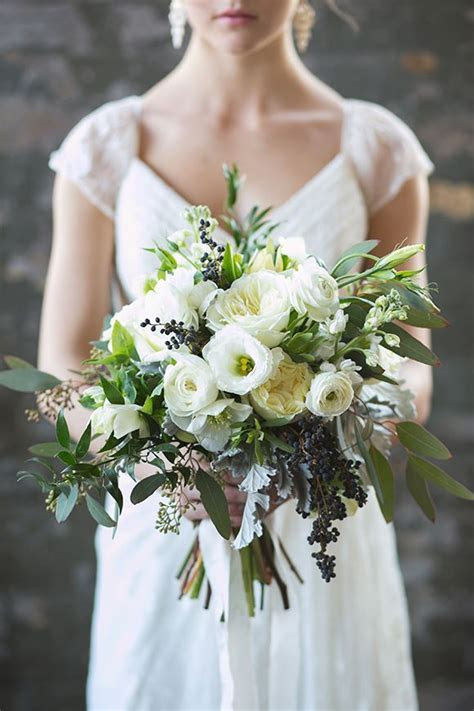 Bridal Wild Bouquet in White and Green   Pear Wedding