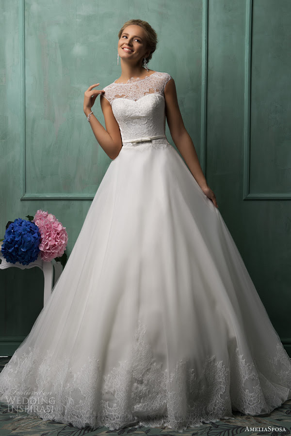 amelia sposa wedding dresses 2014 davia cap sleeve gown