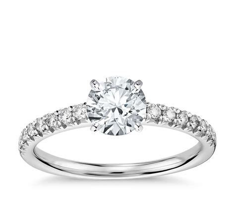 French Pavé Diamond Engagement Ring in 14k White Gold (1/4