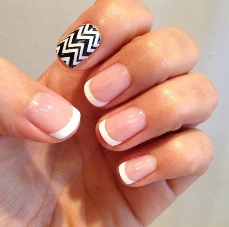 Cool Twist on a French Manicure with zig zag