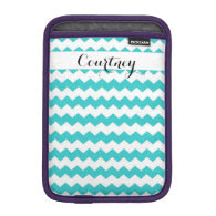 Teal Chevron Personalized Ipad Mini iPad Mini Sleeves