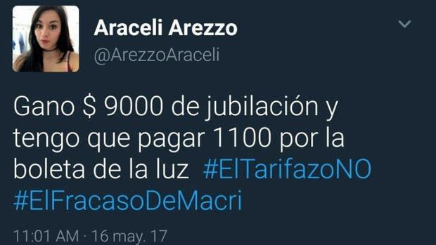 Uno de los tuits de Araceli Arezzo
