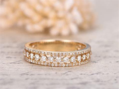 Triple Row Wedding Ring Full Diamond Eternity Band