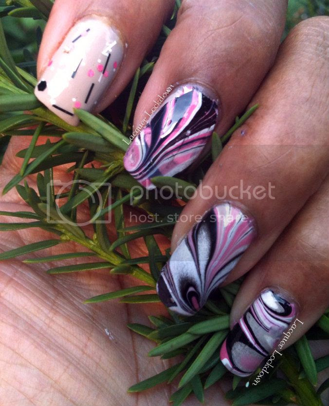 Lacquer Lockdown - trigger finger accent, trigger finger mani, nostalgic lacquer As If!, nostalgic lacquer, Essie Yogaga, water marble nails, matte glitter, indie polish, water marble, nail art