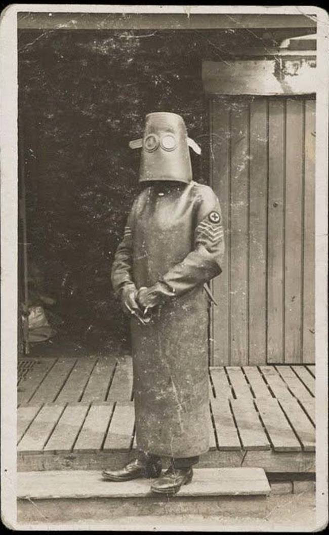 2. Costume nurse from X-ray room, about 1918 medicine, retro, photo