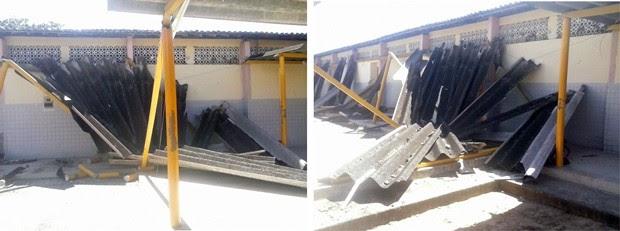 Pilastras de concreto e a cobertura do corredor cederam na manhã desta quarta (3) (Foto: Ediana Miralha/ Inter TV Cabugi)