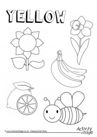 yellow things colouring page