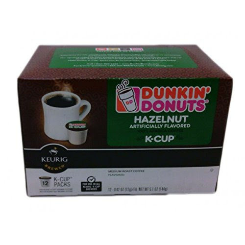 Dunkin Donuts K-cups Hazelnut - Box of 12 Kcups for Use in Keurig Coffee Brewers