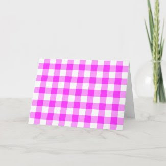 Pink and White Gingham Pattern Cards