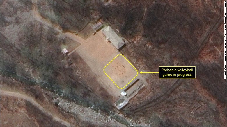 "38 North says this images show a ""probable volleyball game seen at the command center support area"" at the North Korea nuclear test site."
