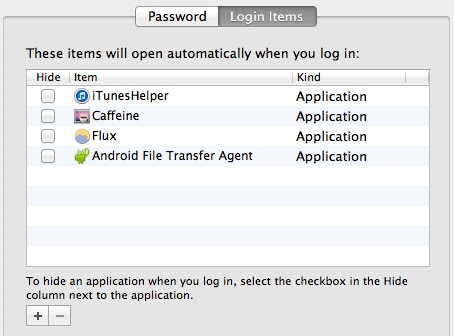 Login items in Mac OS X can slow down system boot and restarting