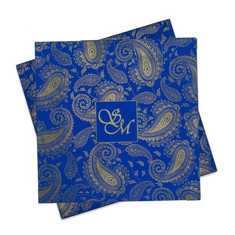 Indian Wedding Card in Blue with Traditional Paisley Designs