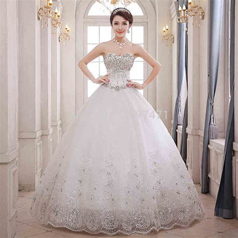 2015 New Fashion Ball Gown White/Ivory Lace Up sparkling
