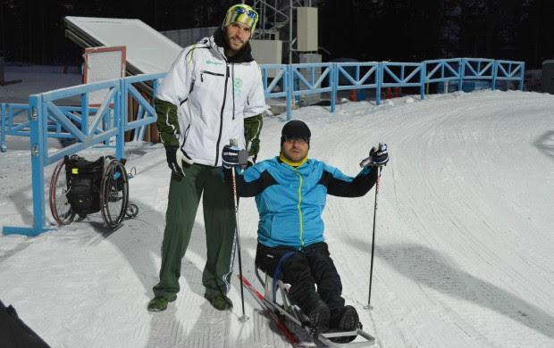 esqui cross country Fernando Aranha paralímpico e Leandro Ribela (Foto: CBDN)